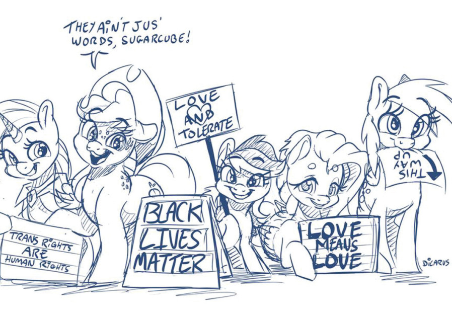 MULTIPLE CHARACTERS from 'My Little Pony' are seen presenting signs for Black Lives Matter and pro-LGBT activism. (Dilarus)