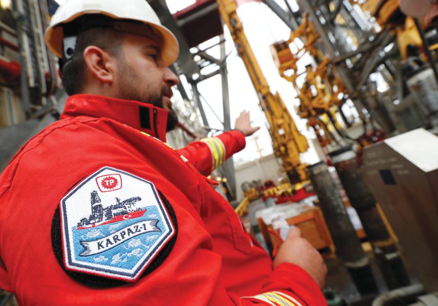 A TURKISH Petroleum Corporation engineer on board Turkish drilling vessel 'Yavuz,' at Dilovasi port in the western city of Kocaeli, Turkey. (Murad Sezer/Reuters)
