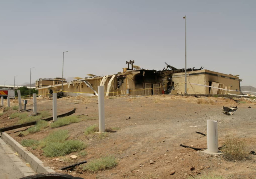 VUE D'UN bâtiment endommagé après qu'un incendie s'est déclaré à la centrale nucléaire iranienne de Natanz, à Ispahan, le 2 juillet. (Organisation iranienne de l'énergie atomique / WANA via Reuters)