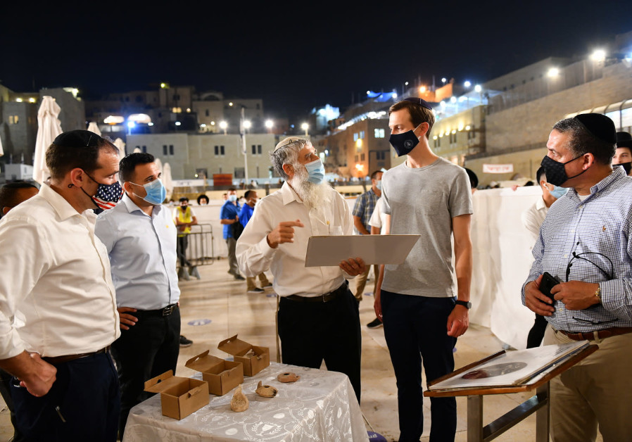 Kushner visits Western Wall prior to historic flight en route to UAE. (The Western Wall Heritage Foundation)