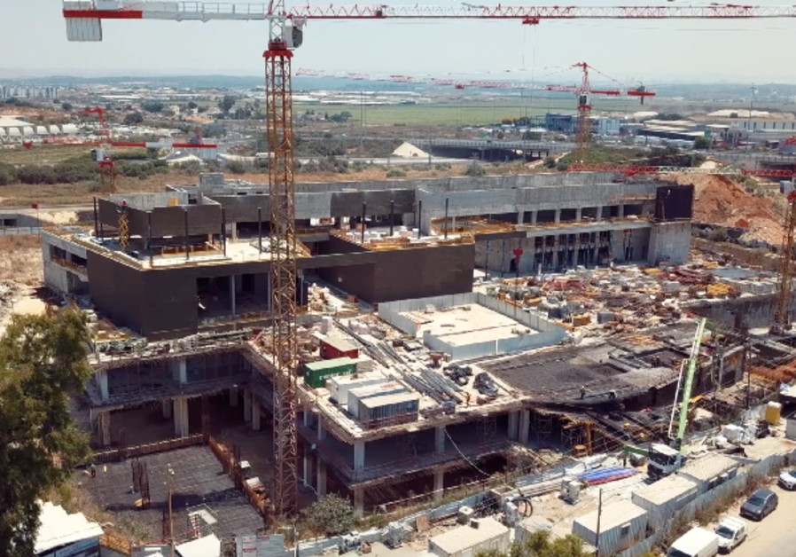 The Marcus National Blood Services Center, currently under construction in Ramla, Israel, will feature six levels, three of them underground in successively more secure, reinforced floors that will keep Israel's national blood reserves protected in the event of a missile, chemical, or biological attack, (photo credit: MAGEN DAVID ADOM).