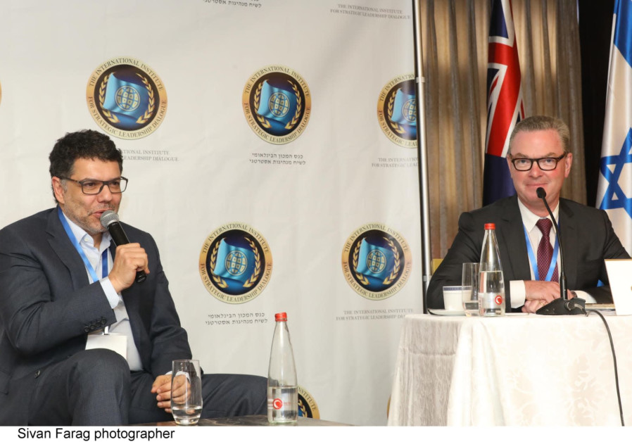 Albert Dadon and Christopher Pyne at the 2019 Leadership Dialogue