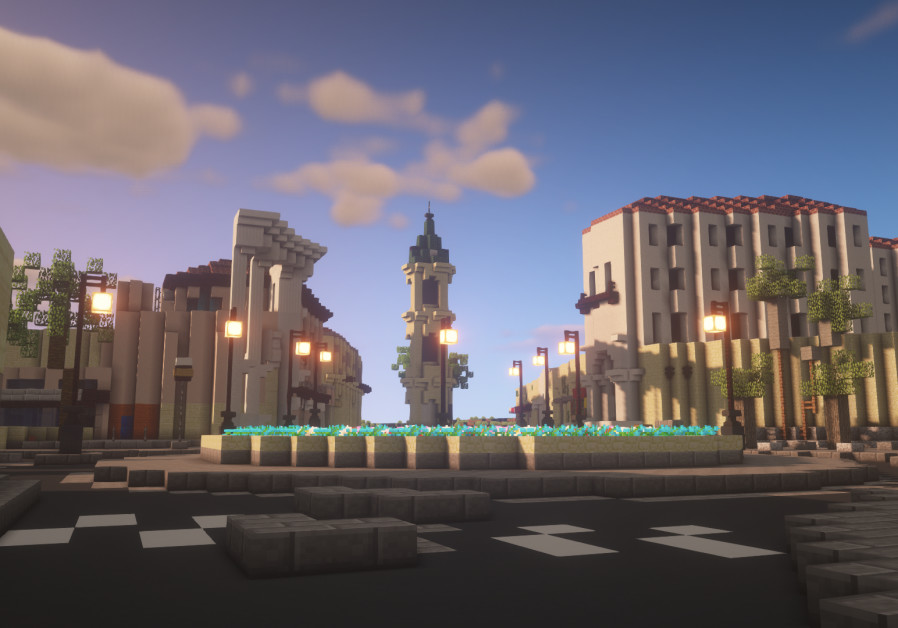 A recreated roundabout alongside nearby buildings, in the city of Jaffa. (Credit: BTE Israel)