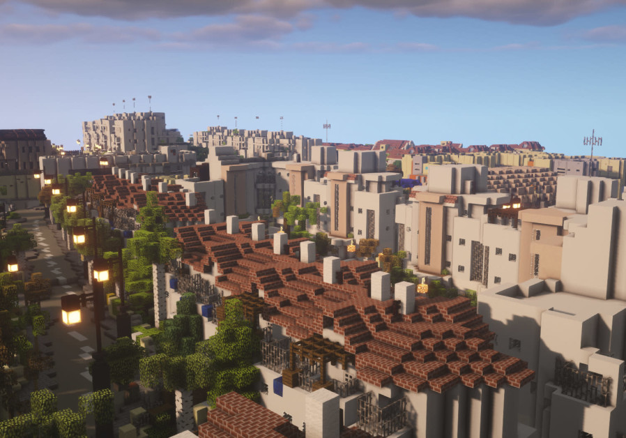 A city block of Gedera is rendered of detail in 'Minecraft.' (Photo credit: BTE Israel)
