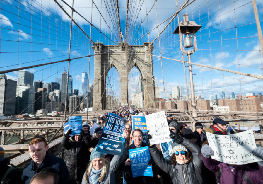 A protest against Antisemitism held on the Brooklyn Bridge/ IRA L. BLACK/CORBIS VIA GETTY IMAGES