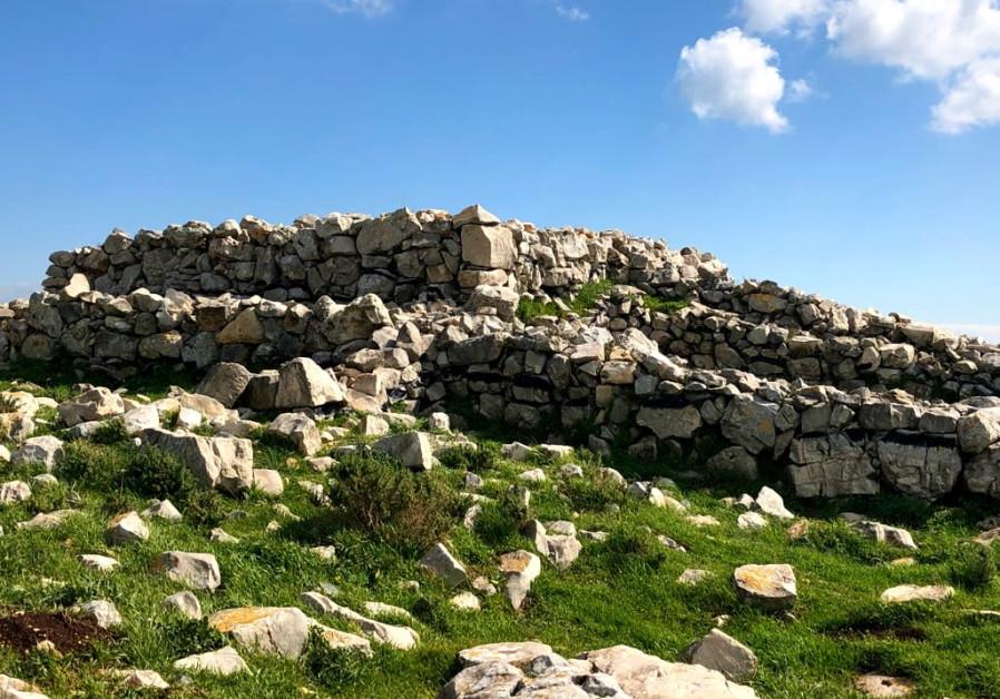 Joshau's altar on Mt. Ebal at a close up/ Tovah Lazaroff
