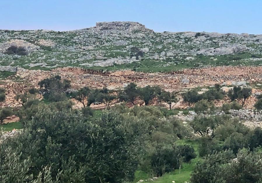 Joshau's altar on Mt.  Ebal, the site from a distance / Tovah Lazaroff