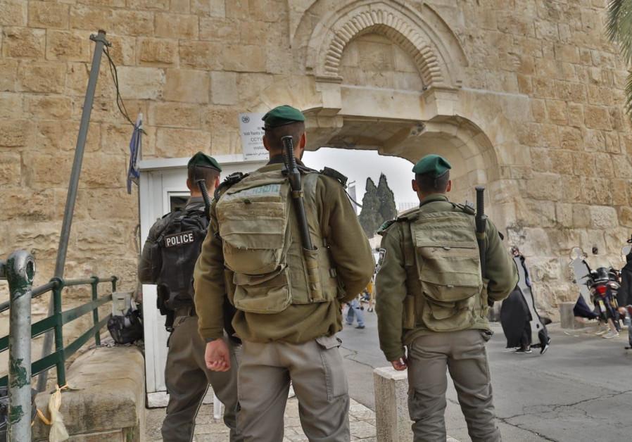 Police officers entering the Old City of Jerusalem/ POLICE SPOKESPERSON'S UNIT