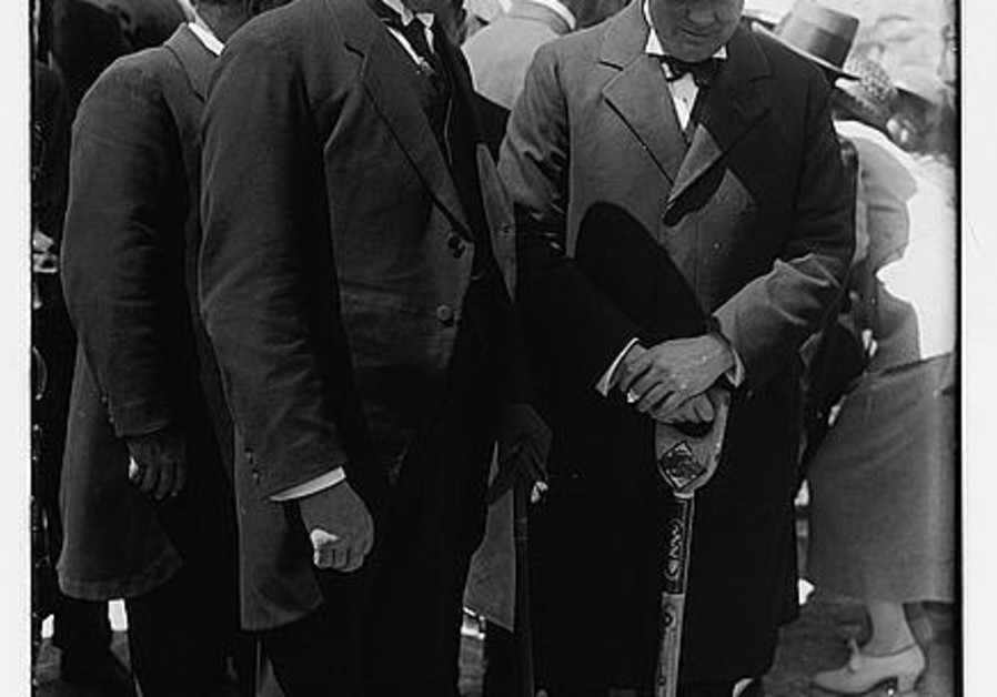 Herbert Samuel and Winston Churchill (with shovel) at the tree planting ceremony on the future site of the Hebrew University in Jerusalem, 28 March 1921 (G. Eric Matson / Library of Congress)