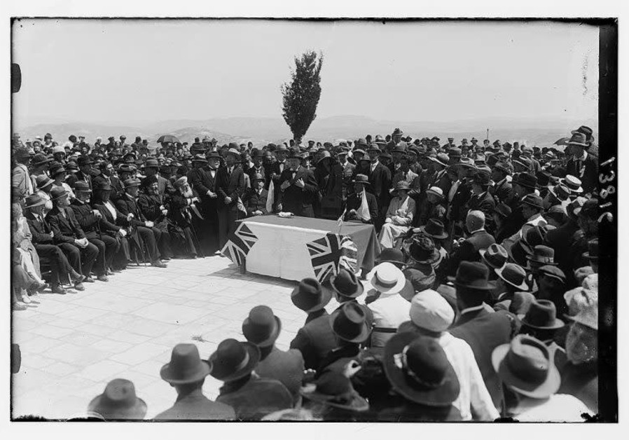 Winston Churchill speaking at the tree planting ceremony on the future site of the Hebrew University in Jerusalem, 28 March 1921 (American Colony Photo Dept. / Library of Congress)