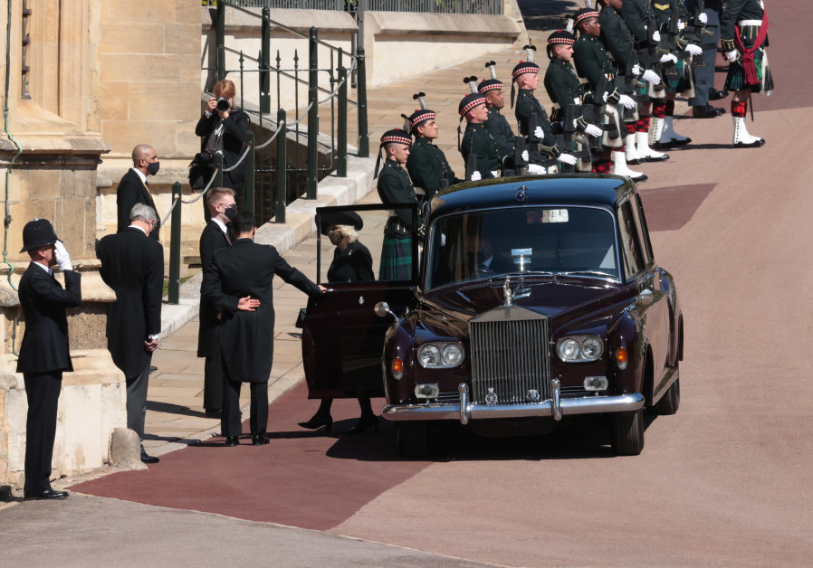 Britain's Camilla, Duchess of Cornwall arrives at St George's Chapel on the grounds of Windsor Castle on the day of the funeral of Britain's Prince Philip, husband of Queen Elizabeth, who died at the age of 99, in Windsor, Britain, April 17, 2021. (Reuters)