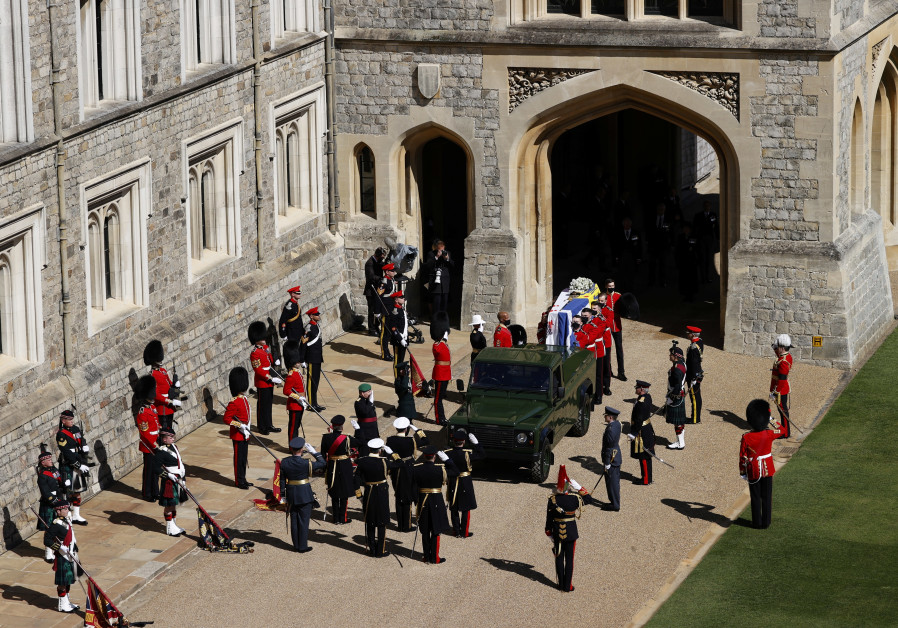 The hearse, a specially modified Land Rover, drives on the grounds of Windsor Castle on the day of the funeral of Britain's Prince Philip, husband of Queen Elizabeth, who died at the age of 99, in Windsor, Britain, April 17, 2021. (Reuters)