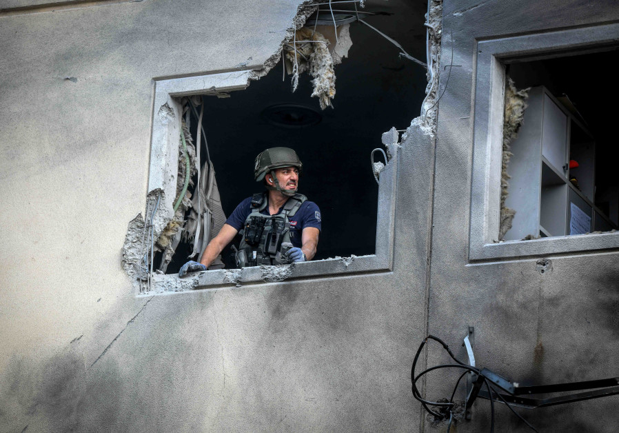 The scene where an apartment building was hit by a rocket fired from the Gaza Strip in Ashkelon, southern Israel, on May 11, 2021. (Fire and Rescue)