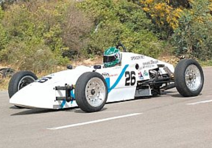 Israeli team test drives first blue-and-white one-seater