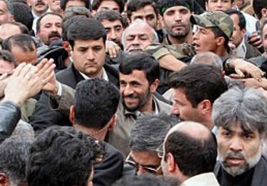 ahmadinejad surrounded by supporters 298 ap