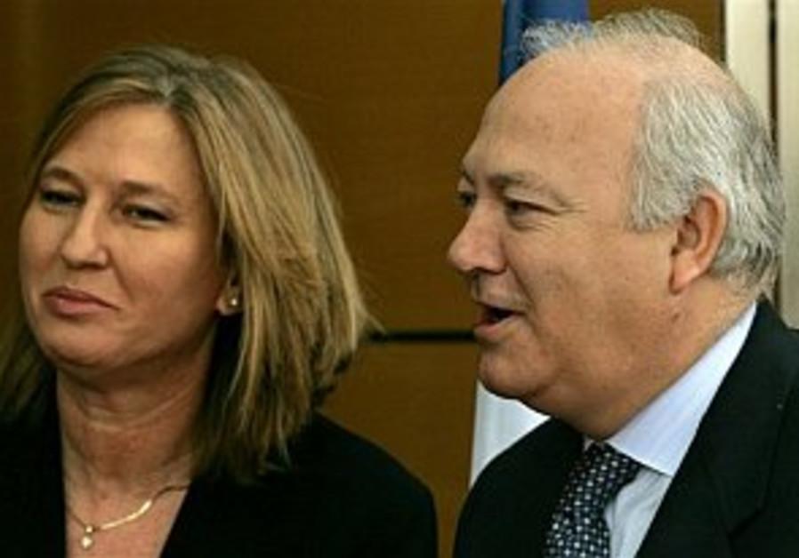 Spanish FM Moratinos and Israeli FM Tzipi Livni.
