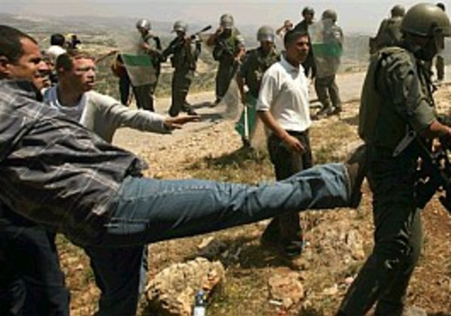 Bil'in protest wounds 2 border police