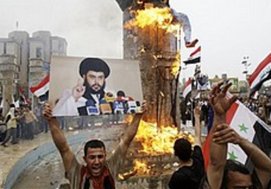 Anti-US protesters mark anniversary of fall of Baghdad
