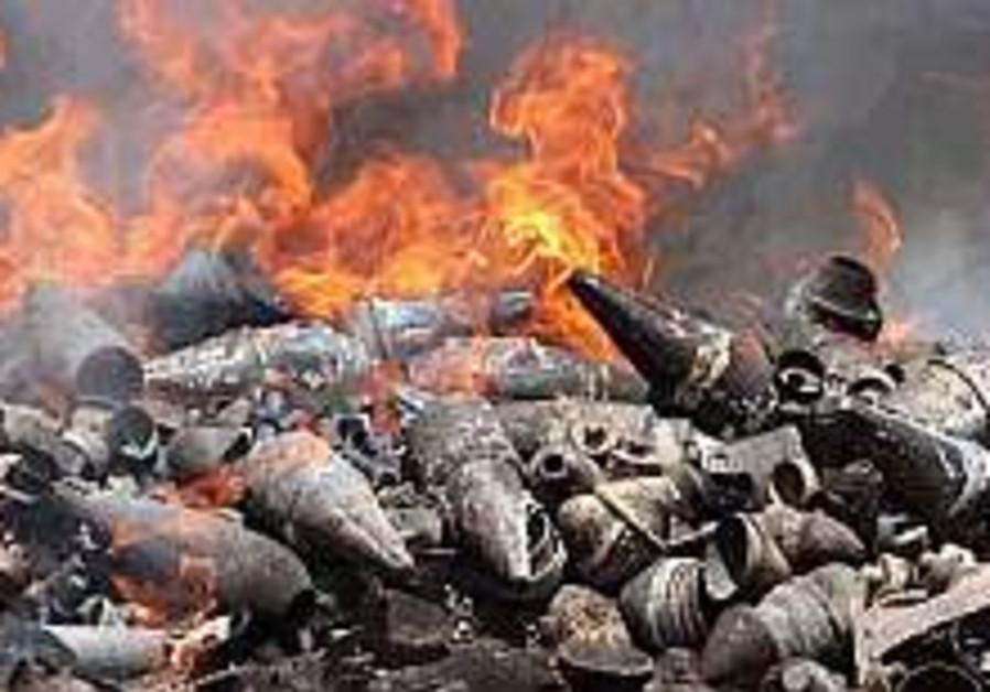 Kassams on fire in pile