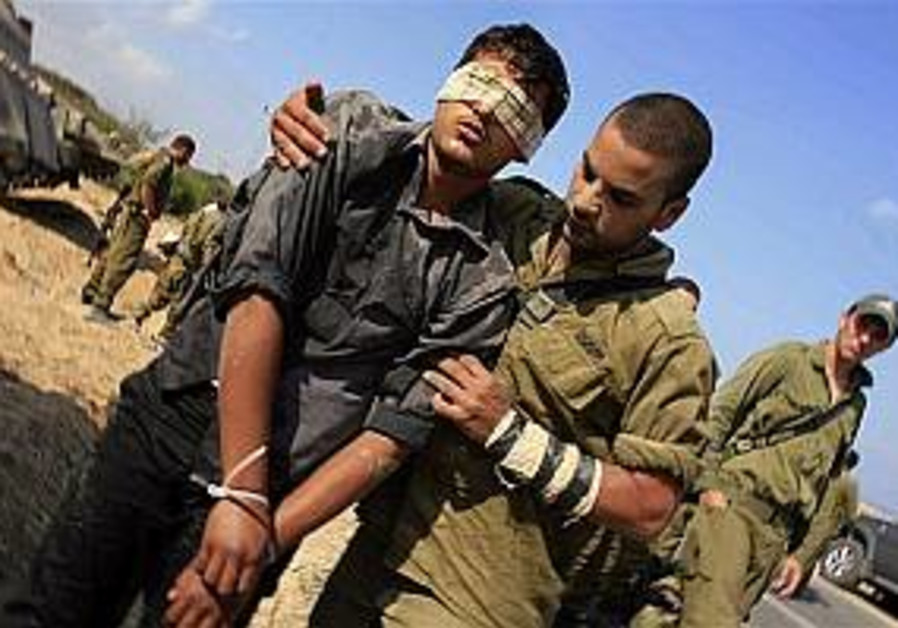 soldier escorts pal captive, gaza 298 ap