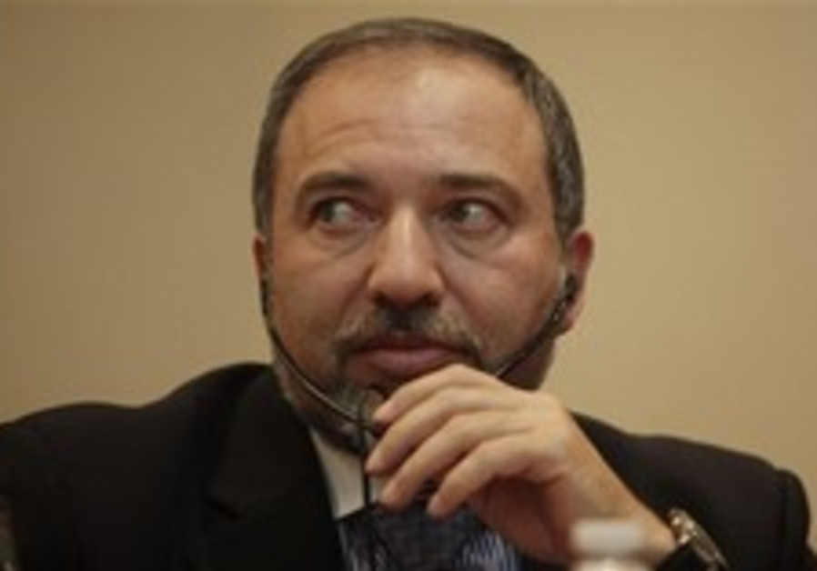 Foreign Minister Avigdor Lieberman gestures during