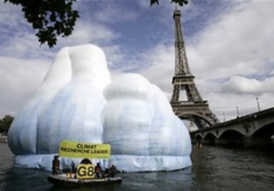 A 16-meter high inflatable iceberg, set up by Gree