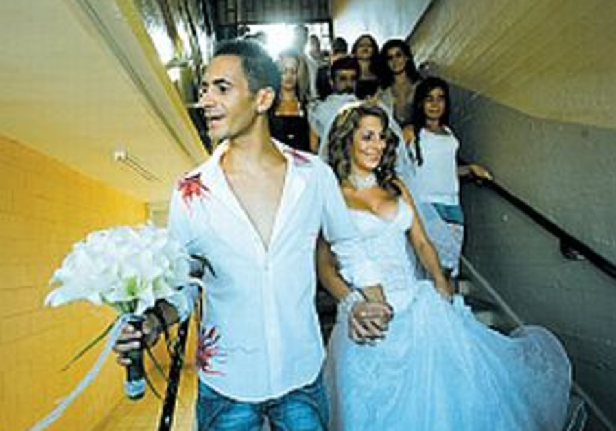 Here comes the bride - in the bomb shelter