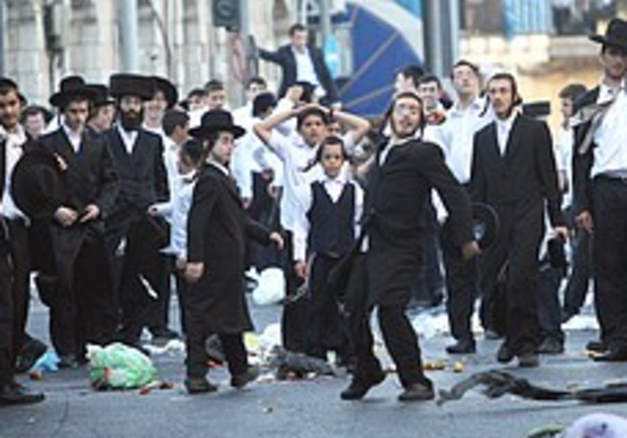 A protest in a haredi neighborhood in Jerusalem.