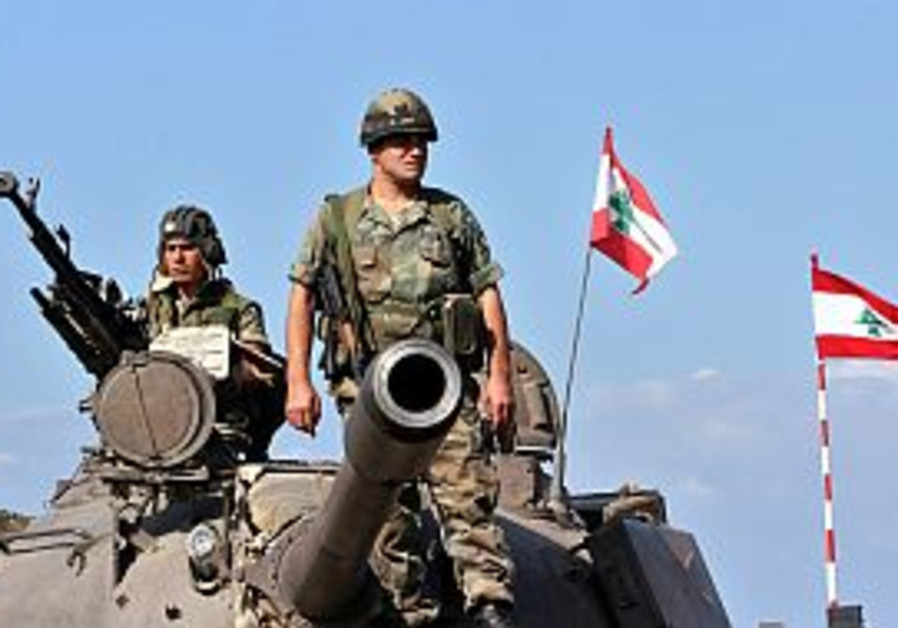 lebanese tank w flags