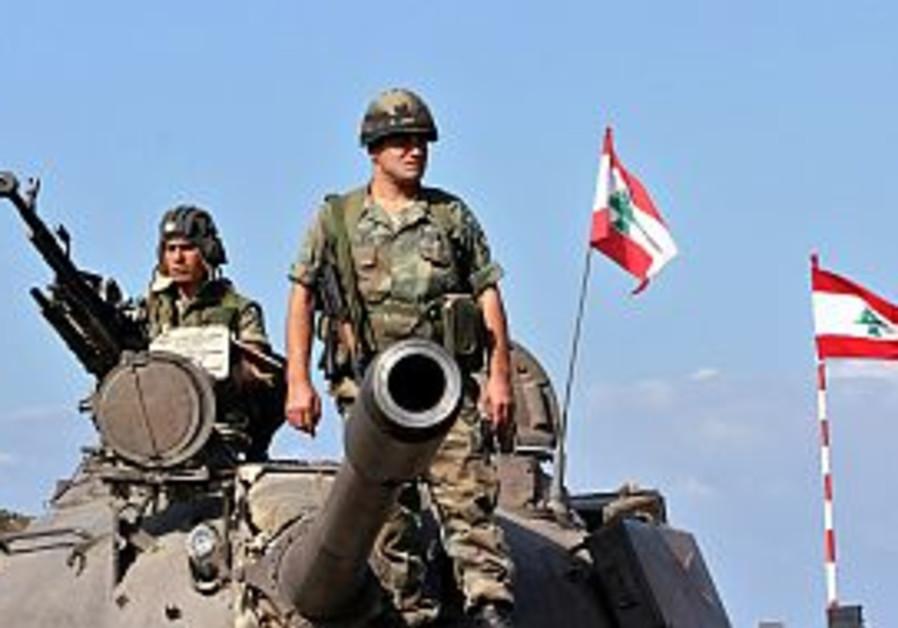 lebanese tank w flags