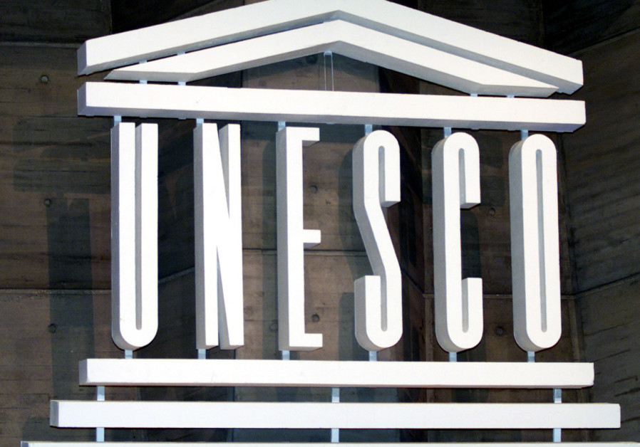 The logo of UNESCO is seen inside the headquarters in Paris