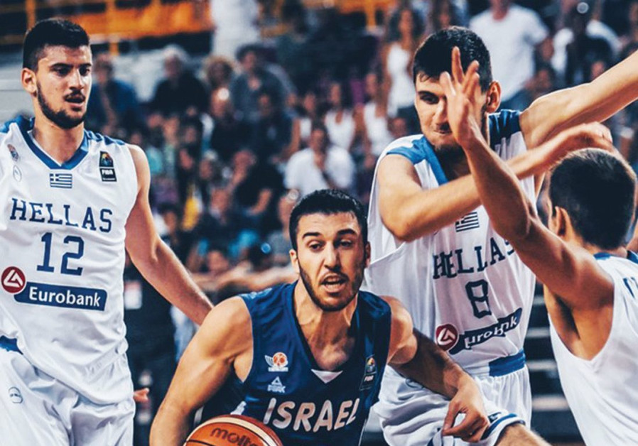 Israel guard Tamir Blatt (center) was shut down by the Greek defense in last night's 65-56 loss to t