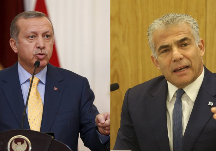 Turkish President Recep Tayyip Erdogan and Yesh Atid leader Yair Lapid