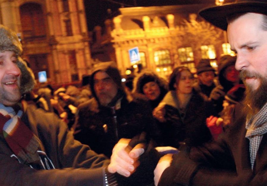 Hungarian Jews celebrating Hanukkah