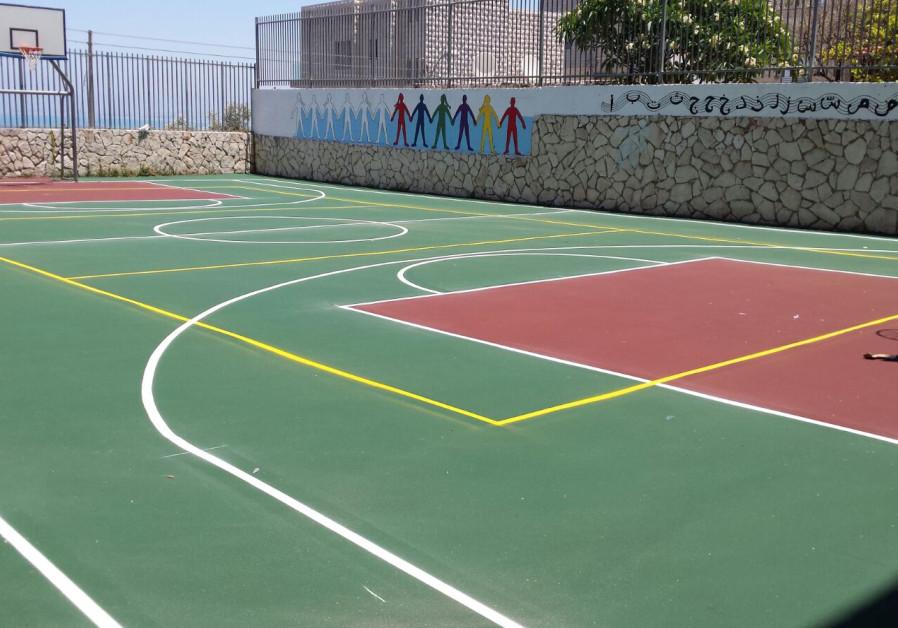 New basketball court at a Haifa school