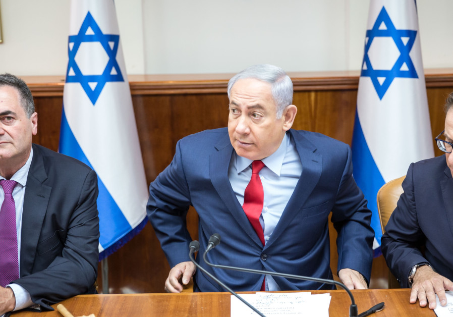 Netanyahu and ministers Braverman and Katz at a a security cabinet meeting, August 2017