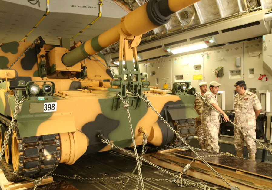 A tank arrives at the Turkish military base in Doha, Qatar
