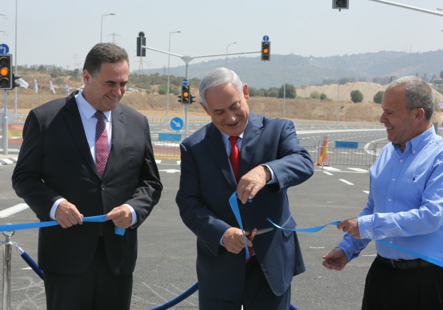 Israel's Transportation Minister and Prime Minister Netanyahu cut the ribbon on new road.