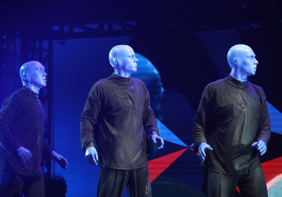 The Blue Man Group performs in Tel Aviv