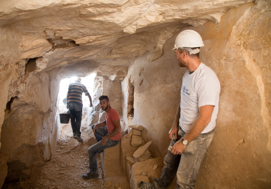Archaeological excavations inside the ancient workshop.