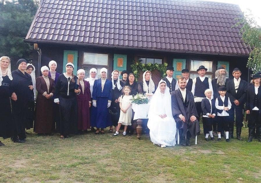 An imitation Jewish wedding in Poland.