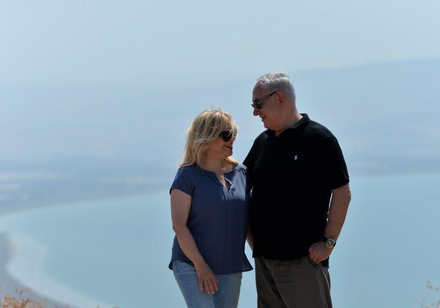 Prime Minister Benjamin Netanyahu and wife Sara Netanyahu at the archeological site Hippos in northe