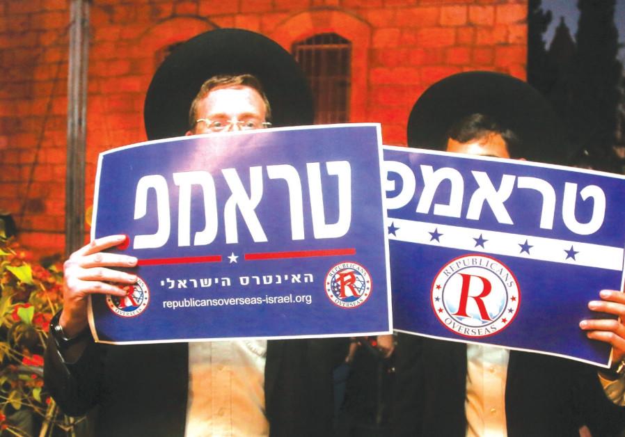 HAREDI TRUMP supporters in Jerusalem.