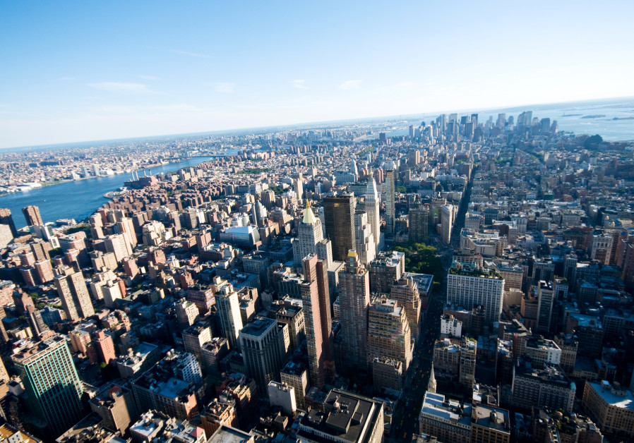 New York city panorama with tall skyscrapers skyline landscape