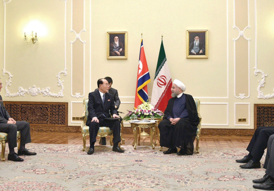 Iranian President Rouhani and North Korean politician Kim Yong-Nam