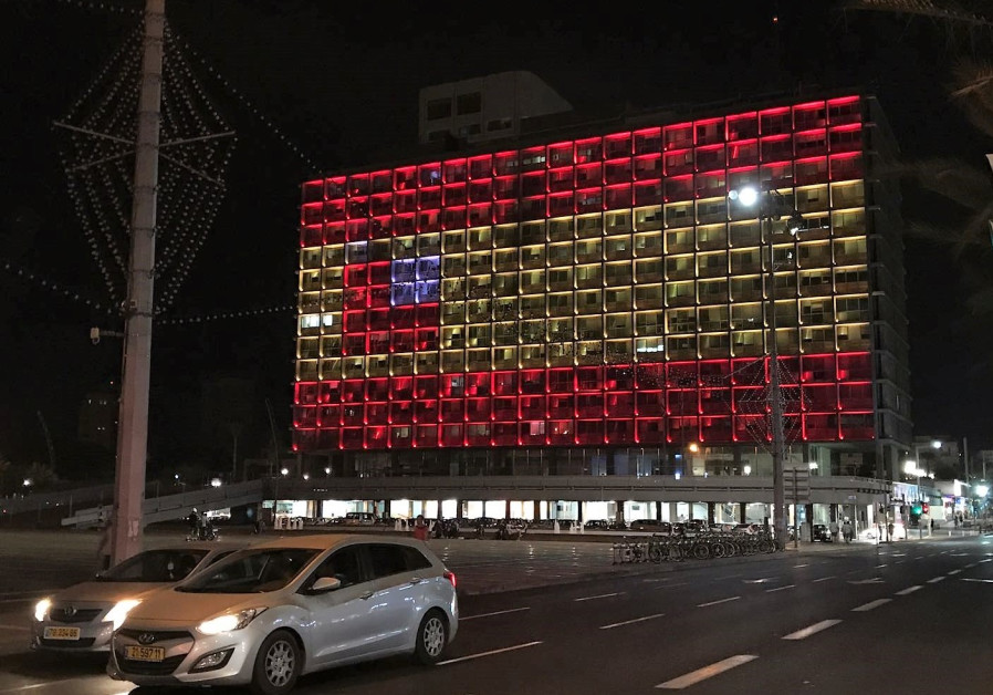 Tel Aviv City Hall lights up in solidarity with Barcelona