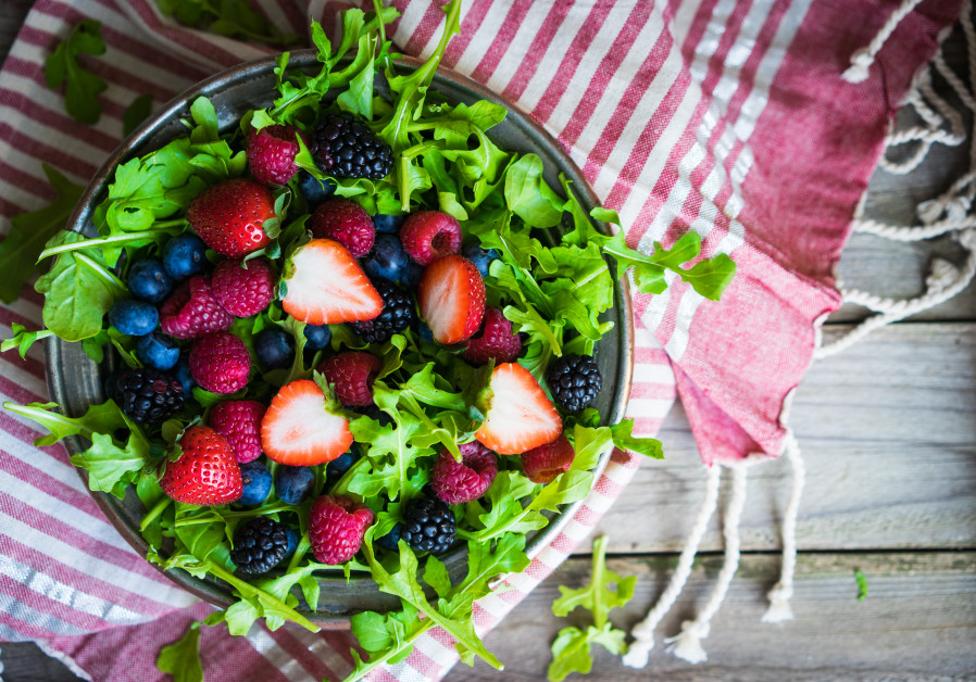 Green salad with arugula and berries healthy food vegetables