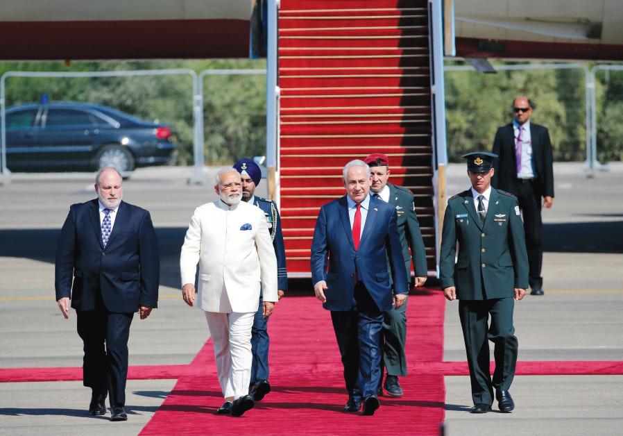 Meron Reuben joins Prime Minister Benjamin Netanyahu in welcoming Indian Prime Minister Narendra Mod