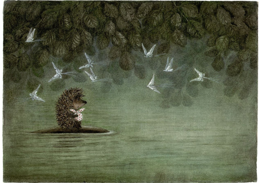 A reproduction of a scene from Yuri Norstein's acclaimed 1970s film 'Hedgehog in the Fog.'