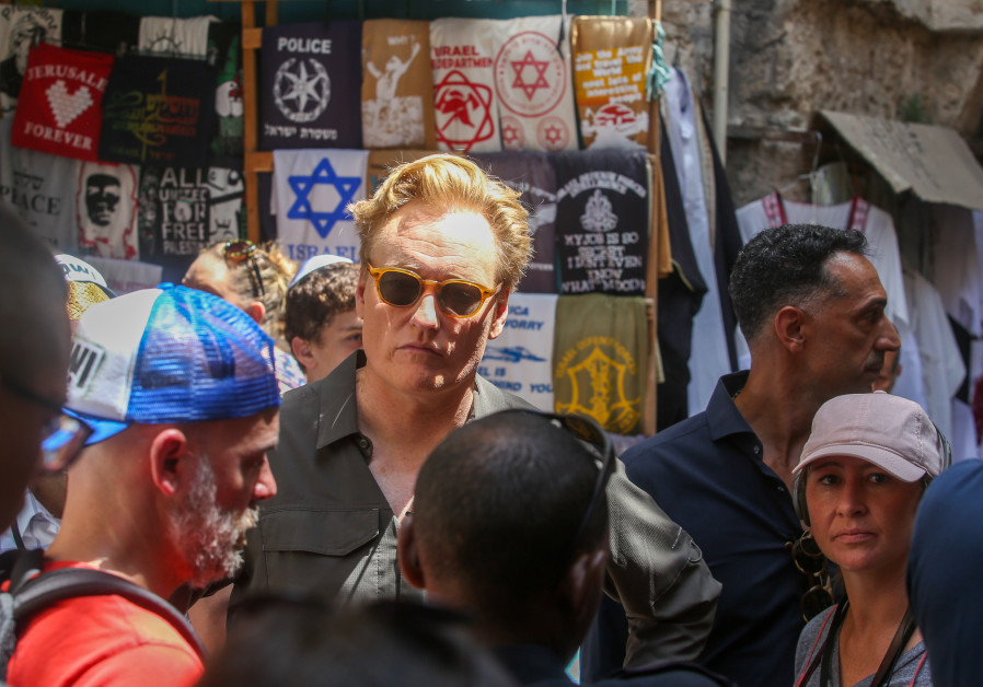 Conan O'Brien in the Old city of Jerusalem, August 28, 2017.